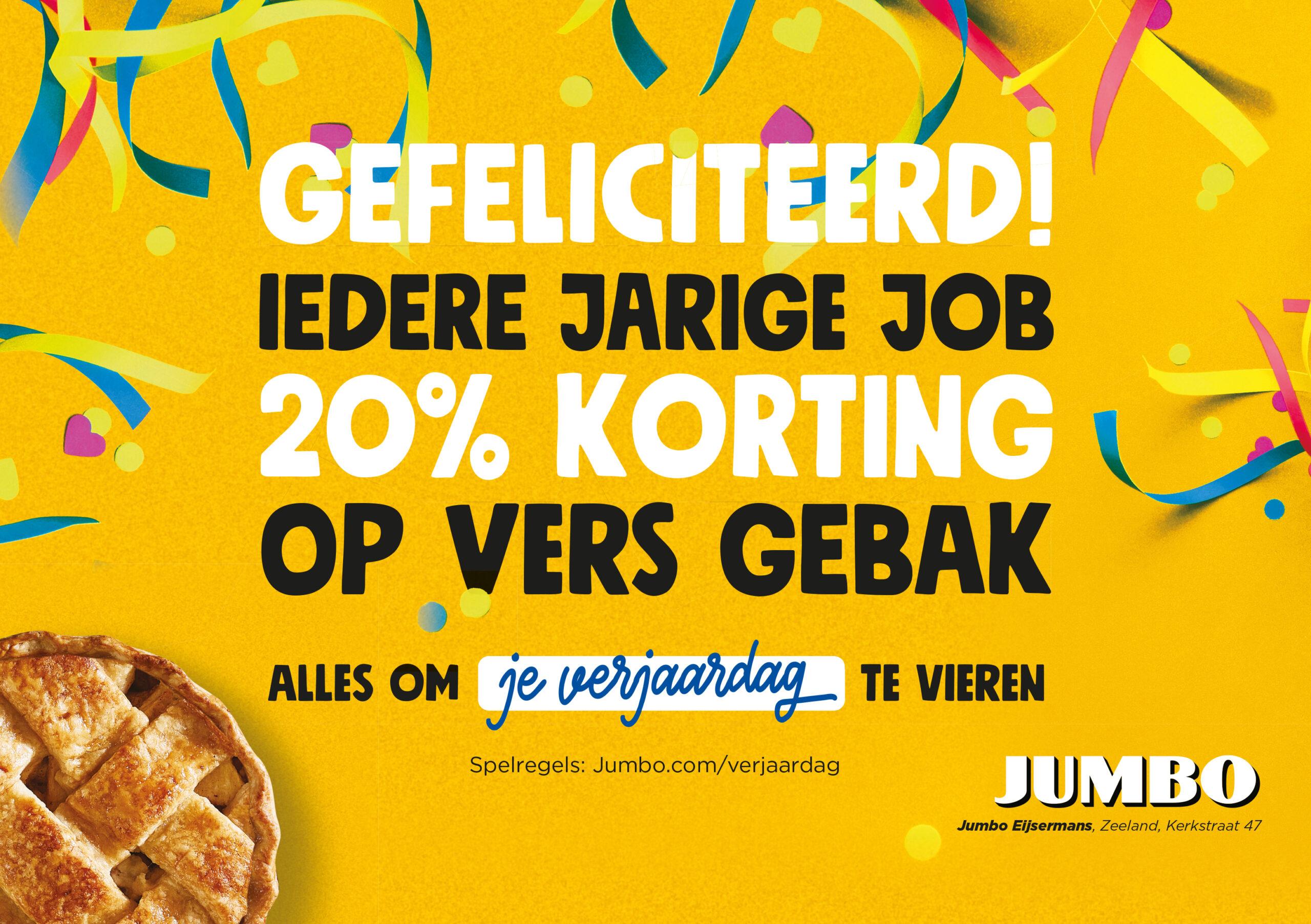 Iedere jarige job 20% korting op vers gebak!